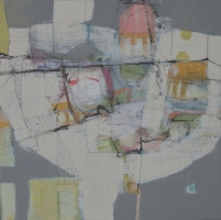 'Mapping the Land', 30x30cm, mixed media on board, 2016