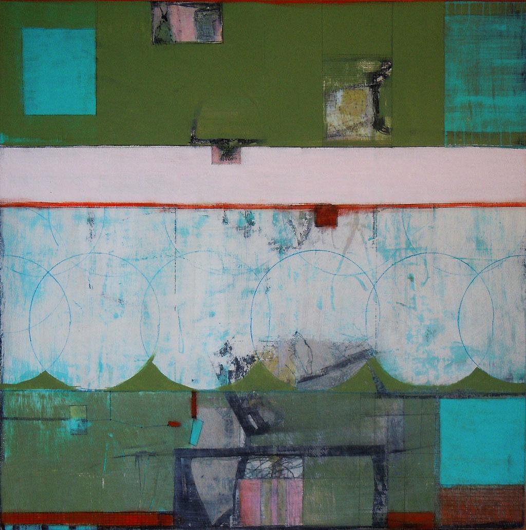 'Blue-Moon',mixed media on board, 50 x 50cm