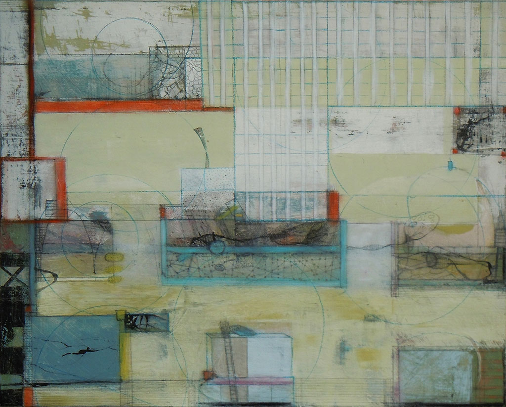 'City of Light', mixed media on board, 44 x 36cm