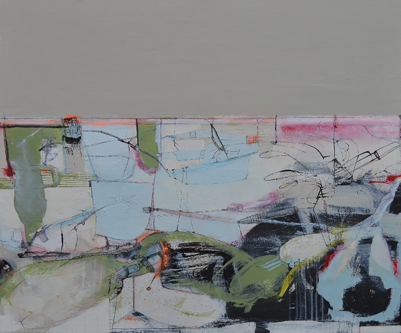 'Mapping the Land', 38x46cm, mixed media, 2018