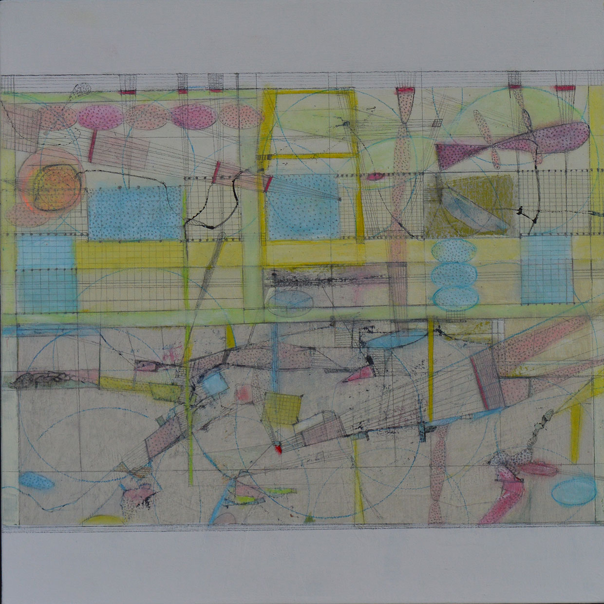 'Map-making', mixed media on board, 40 x 40cm