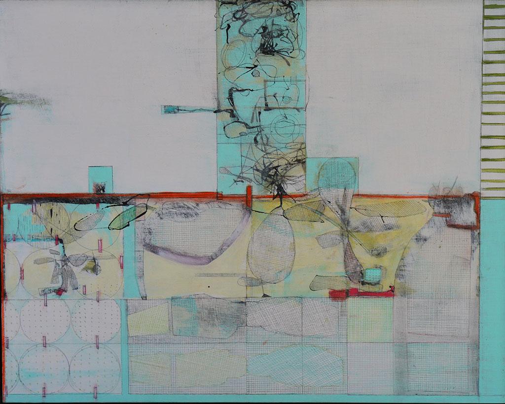'Snowfield', mixed media on board, 41 x 51cm
