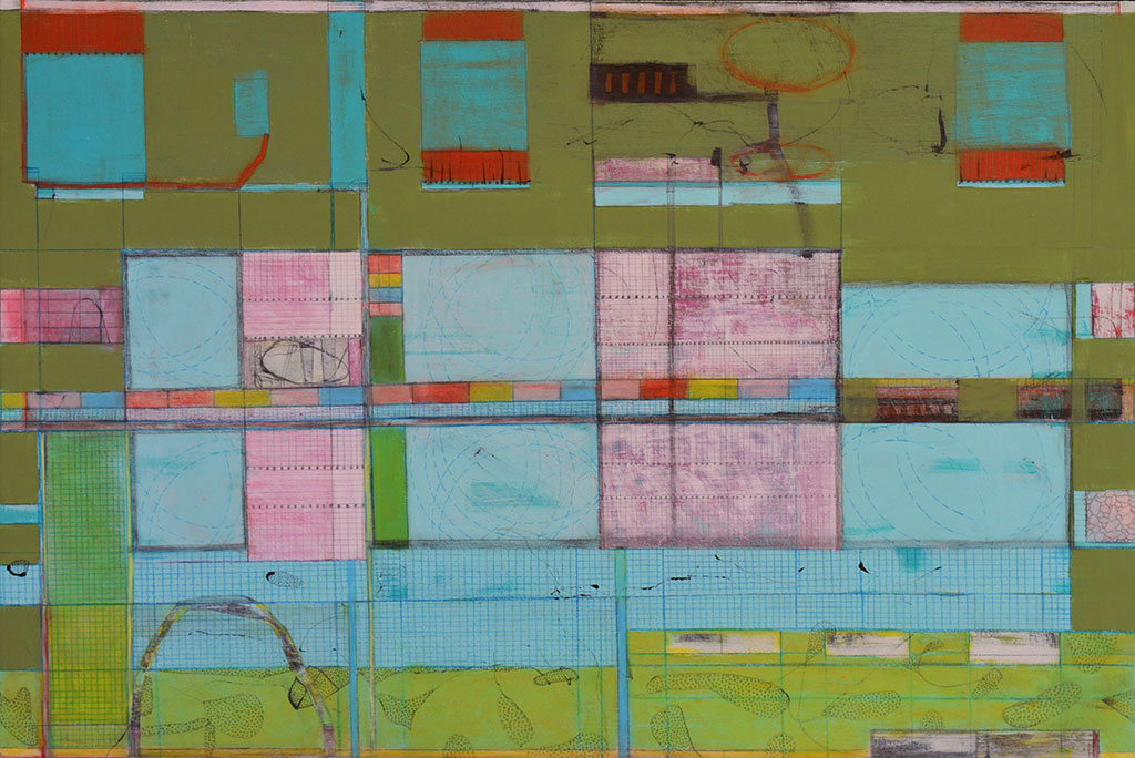 'Town Planning', mixed media on board, 51 x 76cm