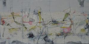 'Field Marks I', 25x50cm, mixed media on board, 2016