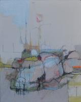 'Walking at Dungeness', mixed media, 2016